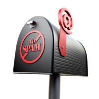 """Amerikanischer Briefkasten mit """"No Spam""""-Beschriftung"""